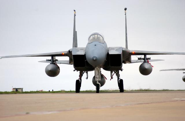 Langley Air Force Base F-15 sits on the runway