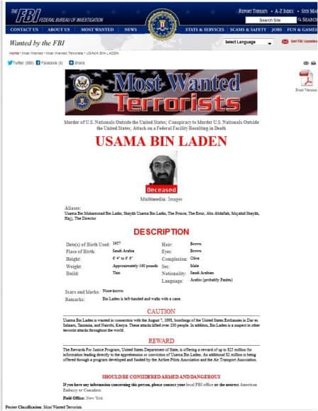 Screen capture of FBI Most Wanted Poster for Usama bin Laden