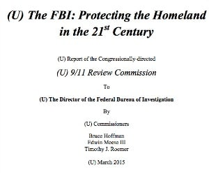 9/11 Review Commission: FBI protecting the homeland first page