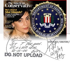 Image of FOIA Collage with Sibel Edmonds on the cover of American Conservative