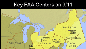 Map marking the Key FAA Centers on 9/11