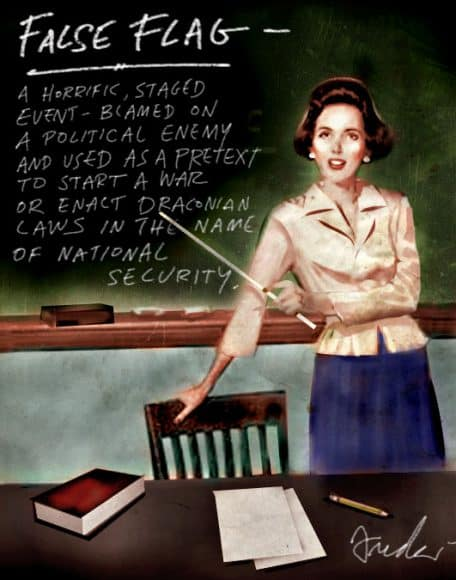 False Flag Attack on classroom chalk board as the treacher goes over the lesson