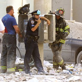 Photo of first responders using payphone on 9/11