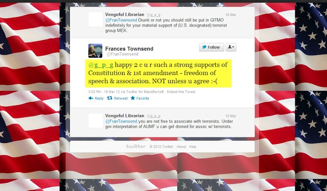 Screenshot of Frances Townsend tweet where she responds to accusations of supporting a US designated terror group