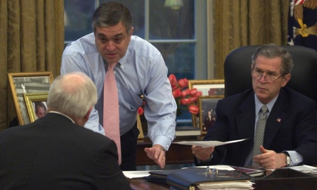 George Tenet at the White House in 2003 advising torture with Bush and Cheney