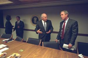 Photo of George W Bush with Vice President Cheney on September 11 2001