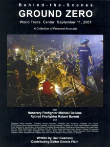 Cover image of a book titled, Behind the Scenes Ground Zero, that shows rescue recovery workers on the pile at Ground Zero where the black boxes were recovered