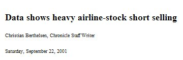 """Newspaper article title, """"Data shows heavy airline-stock short selling"""""""