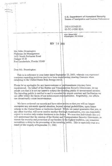 Homeland Secuurity letter to Mr. Mike Brassington apologizing for inconveniencing him when crossing the border