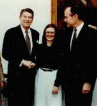Barb Honegger Poses with President Reagan and Vice President Bush