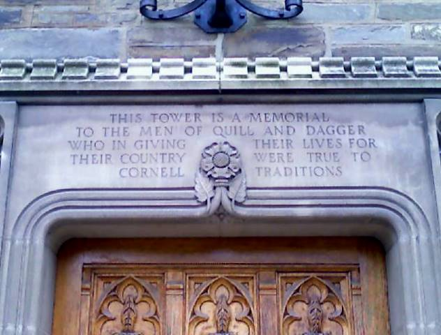 Inscription above entrance to Quill and Dagger Tower, Cornell University