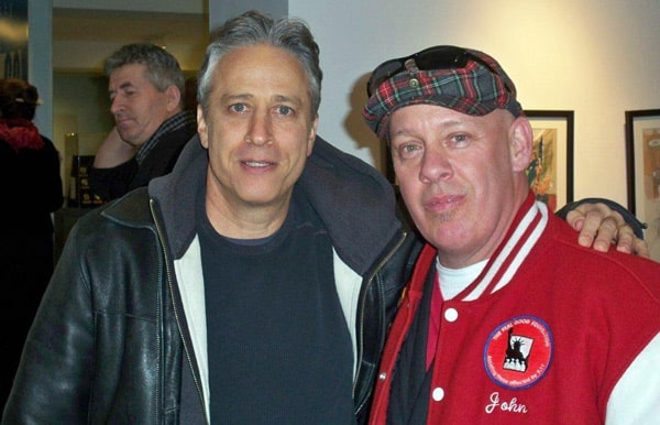 Photo of Jon Stewart with FealGood Foundation founder and first responder John Feal