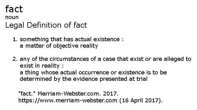 FACT: a legal definition
