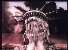 Liberty cries over lost civil liberties. She holds her hands to cover her face in disbelief