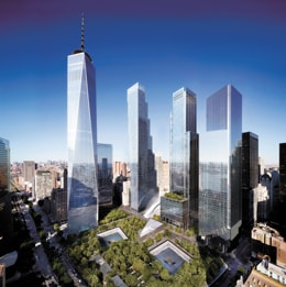 A rendering of the new World Trade Center buildings in Lower Manhattan, with the reflecting pools of the National September 11 Memorial in the foreground. Three of the buildings have been completed, including One World Trade Center