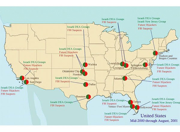 Map of the United States showing where the Israeli DEA groups overlapped with the 9/11 hijackers