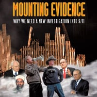 Cover image from Mounting Evidence by Paul Rea with prominent 9/11 figures set against Ground Zero
