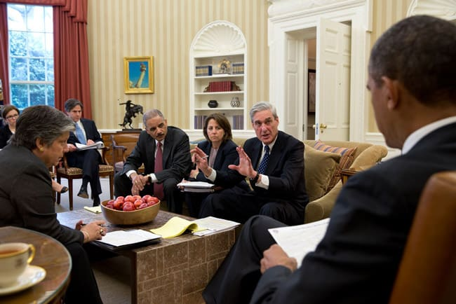 Official White House Photo by Pete Souza of FBI Director Robert Mueller leading a briefing for President Obama on the Boston Marathon bombings