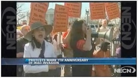 Screenshot of NECN local coverage of anti war protests