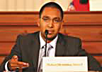 Image of Nafeez Ahmed at Congressional hearings held by Cynthia McKinney