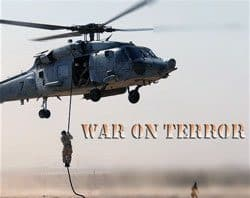 Image of soldier doing fast rope insertion in War on Terror training