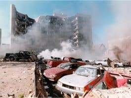 Photo of aftermath of 1995 OKC bombing