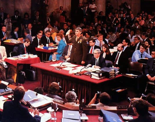 Photo of Oliver North at the Iran-Contra Hearings