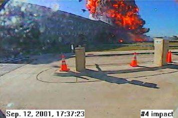 Fireball rises from the Pentagon where Flight 77 hit