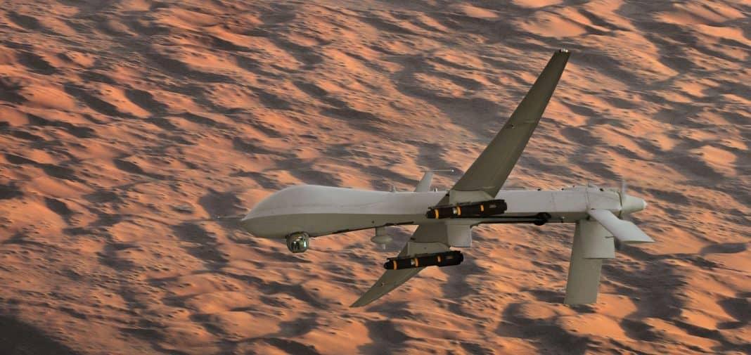 Photo of armed Predator drone in flight