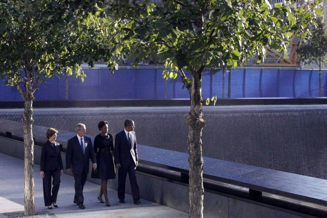 President Obama, President Bush and First Ladies Michelle and Laura visit the North Pool at the National September 11 Memorial