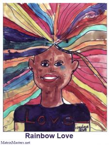 Drawing entitled Rainbow Love