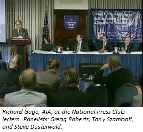 Photo of Richard Gage presenting evidence at National Press Club lectern