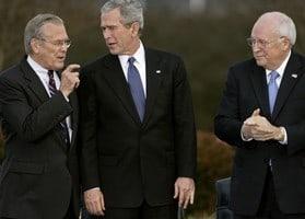 Photo of Rumsfeld, Bush and Cheney walking at the Bush ranch in Texas