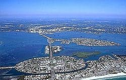 View of Sarasota Florida from the air with the Gulf of Mexico visible