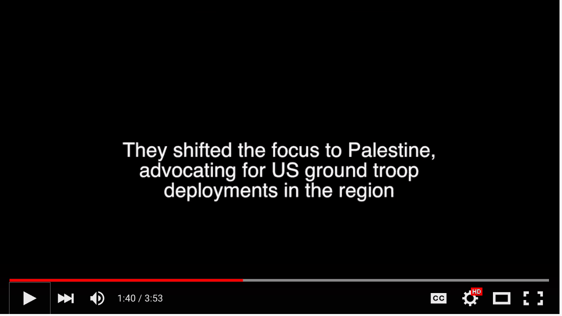Screen Shot: Kagans shifted focus to Palestine
