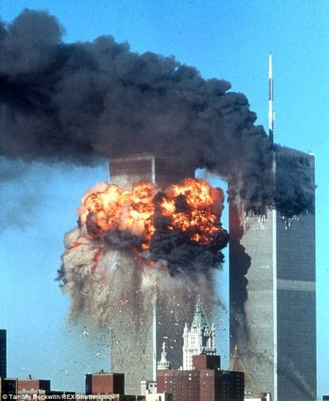 Photo shows the moment of United Airlines Flight 175 hitting the South Tower of World Trade Center