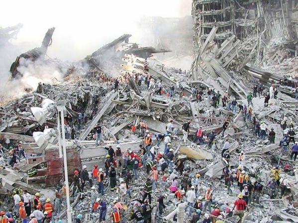 """Chief MEdical Examiner links a death directly to the dust seen covering everything in this photo looking down on """"The Pile"""" at Ground Zero"""