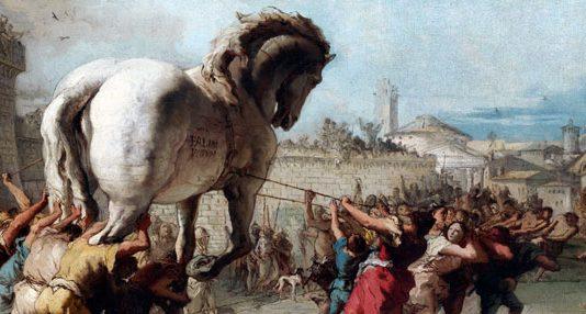 Fallen Empire: The Procession of the Trojan Horse into Troy, by Giovanni Domenico Tiepolo, c. 1760