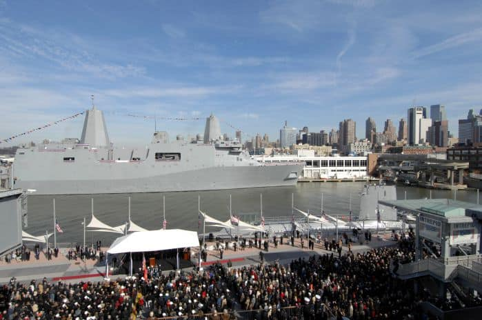 Photo of the USS New York being commissioned in New York. The ship is made from 7.5 tons of recycled WTC steel