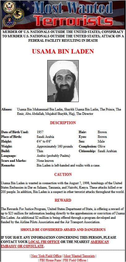 FBI Most Wanted poster for bin laden does NOT mention the 9/11 attacks
