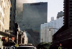 View of WTC Building 7 with smoke rising