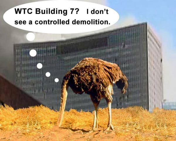 An ostrich sticks it head in the sand while World Trade Center 7 collapses