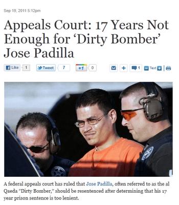 Screenshot of ABC reporting on Jose Padilla verdict