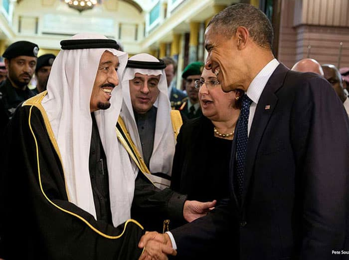 President Barack Obama, initially resisted declassifying the 28 pages, greeting Saudi King Salman bin Abdulaziz in 2015.