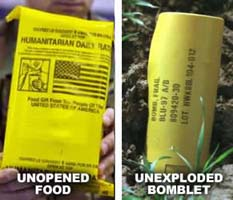 Bomb or food? Yellow packaging we dropped overseas looks identical