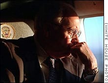 Dick Cheney looking out plane window on 9-11