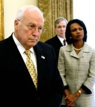 Dick Cheney and Condoleezza Rice in White House