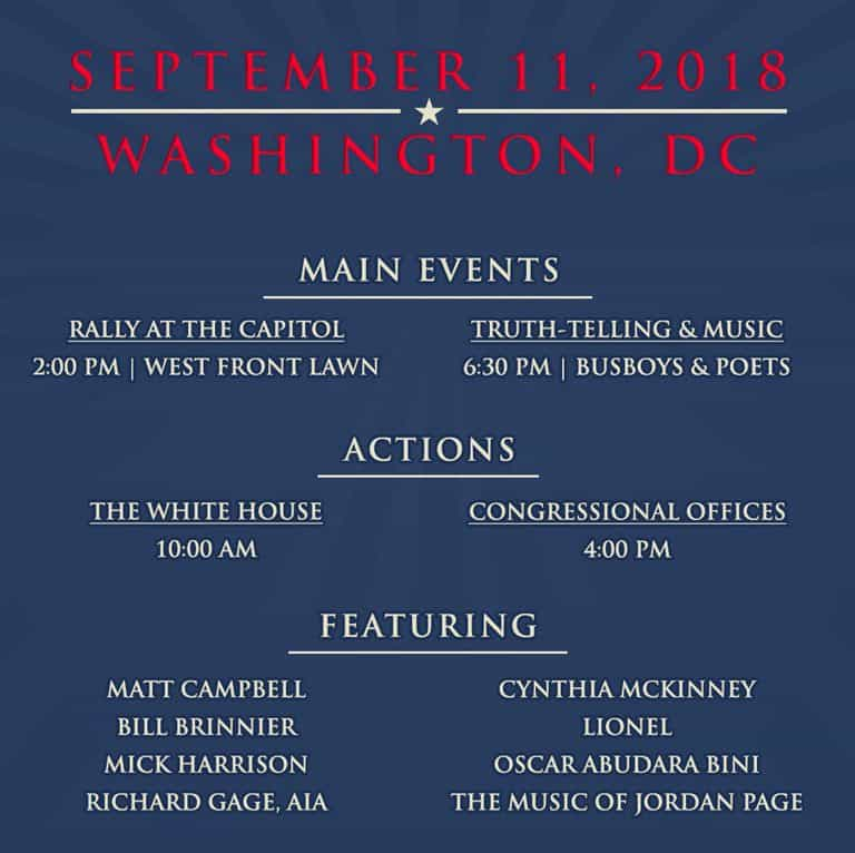 List of events for 9/11/18 DC Justice For All