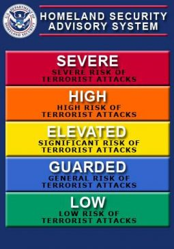 Chart of Homeland Security Fear-Threat color coded fear levels