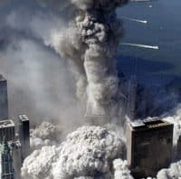 Gray smoke from thermite rises from the core of the WTC South Tower after collapse